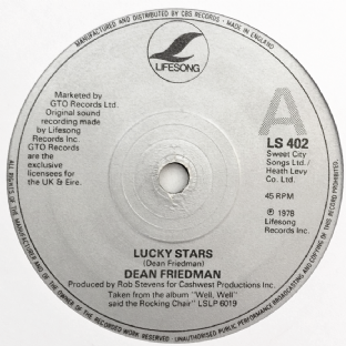 "Dean Friedman - Lucky Stars (7"") (G+/NM)"